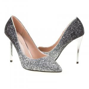 Pantofi stiletto din glitter Bianca argintii