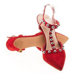 Sandale cu toc chic Amalia rosu