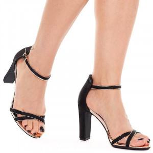 Sandale cu toc elegante din satin Amalia bronze
