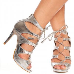 Sandale cu toc Fatima argintiu