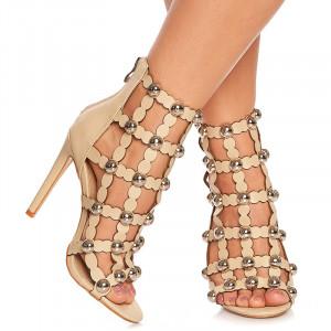 Sandale cu toc Francisca bej