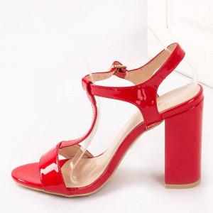 Sandale cu toc gros chic Alma rosu