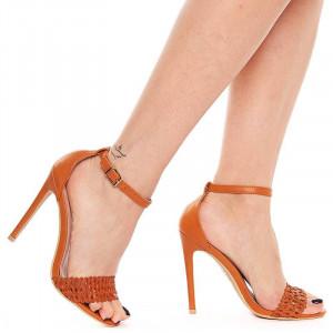 Sandale cu toc inalt elegante Olivia bej