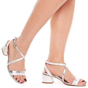 Sandale dama elegante cu toc mic Gilda argintiu