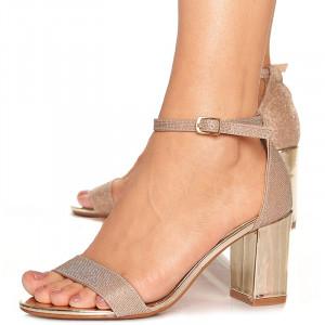 Sandale de ocazie cu toc mediu Leticia auriu