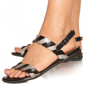 Sandale din Piele cu Talpa Joasa Adora Negru cu Gri
