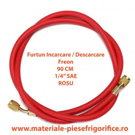 "Furtun pentru incarcari - descarcari agenti frigorifici 1/4"" SAE, 90 cm Rosu (Red) - 1 Buc"