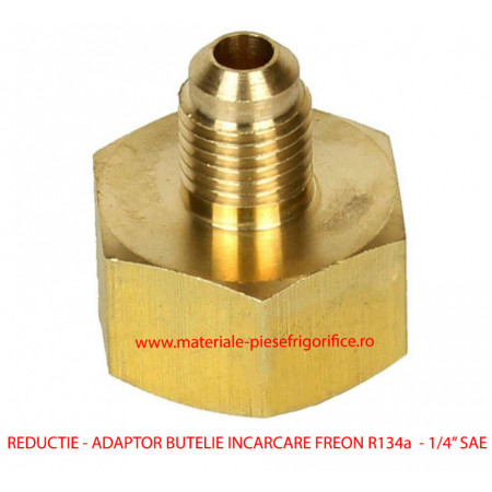 """Reductie - Adaptor Butelie Incarcare Freon R134a 21 mm - 1/4"""" SAE"""
