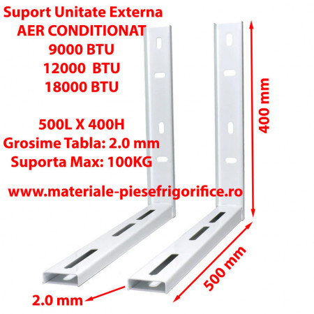 Set Console Metalice Fixe, Suporti Aer Conditionat, 500L x 400H , 9000,12000, 18000 BTU