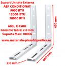Set Console Metalice Fixe, Suporti Aer Conditionat, 600L x 450H , 9000, 12000, 18000, 24000 BTU