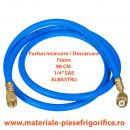 """Furtun pentru incarcari - descarcari agenti frigorifici 1/4"""" SAE, 90 cm Albastru(Blue) - 1 Buc"""