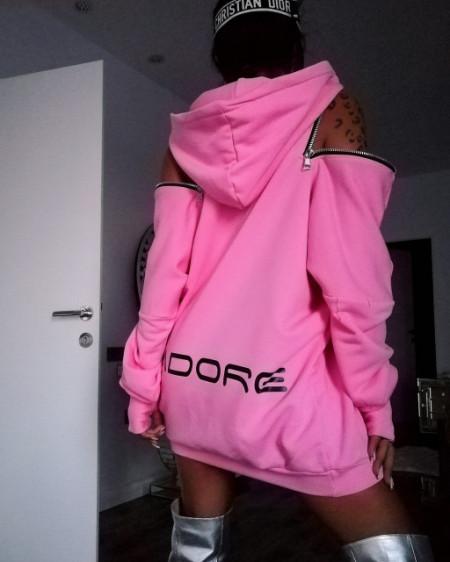 Poze Hoodie Baby Pink by Jadore 3530 roz
