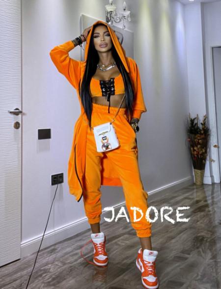 "Poze Set 3 piese din Catifea Soft by "" Jadore "" cod 3800 portocaliu"