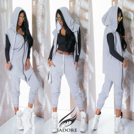 "Poze Compleu 2 piese (trench si pantaloni) "" by JadoreAccessorize"" cod 2273 gri E"