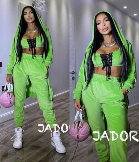 """Poze Set 3 piese din Catifea Soft by """" Jadore """" cod 3800 verde"""