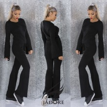 "Compleu 2 piese  din puloveras gros (Hanorac si Pantaloni) by ""Jadore "" cod 3081 negru WB T"