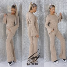 "Compleu 2 piese  din puloveras gros (Hanorac si Pantaloni) by ""Jadore "" cod 3081 cappucino WB T"