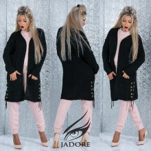 "Trench Gros din Pulover by ""Jadore "" cod 3060 Negru WB T"