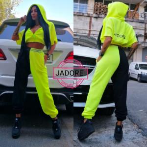Trening 2 piese by Jadore 3609 negru verde neon