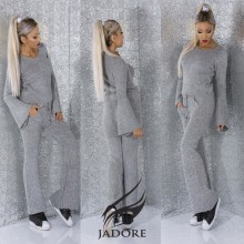 "Compleu 2 piese  din puloveras gros (Hanorac si Pantaloni) by ""Jadore "" cod 3081 grey WB T"