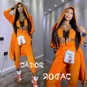 "Set 3 piese din Catifea Soft by "" Jadore "" cod 3800 portocaliu"