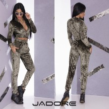 "Compleu 2 Piese din Catifea by ""Jadore""  cod 2-3139 Green WB"