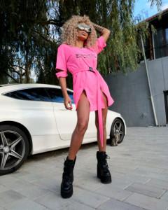 Rochiță Sport JDR cod 3592 roz neon R