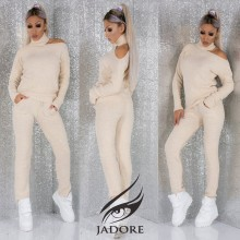 "Compleu 2 piese  din puloveras (Hanorac si Pantaloni) by ""Jadore "" cod 3092 CREAM WB T"