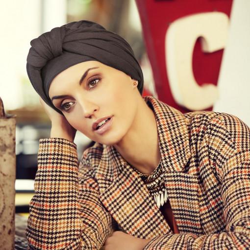 Turban Set BOHO SPIRIT SAPPHIRE, Stone Grey, Christine Headwear, Onconect