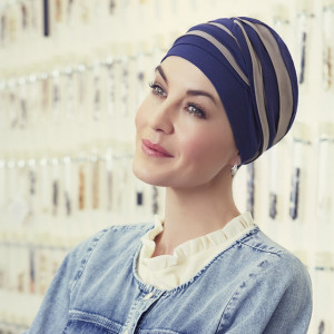 Shanti turban, Night Blue/Dark Sand, Vascoza din bambus