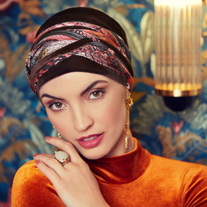 Turban Set BOHO SPIRIT SAPPHIRE, Scarlett Dark Brown, Catifea