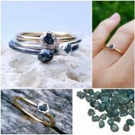 Inel cu diamant brut verde-albastrui