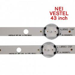 "Set barete led NEI, Vestel 43 inch 43NE5505 43"" DRT UHD A/BTYPE REV0.3, 17DLB43VER3 , 2 barete x 8 led + 2 barete x 9 led"