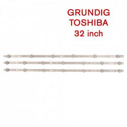 Set barete led Grundig, Toshiba 32 inch 32VLE4302BF, 32VLE5304BG SVS320AD7, SVS320AA6 2 barete x 7 led + 1 bareta x 6 led