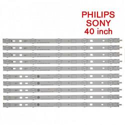 Set barete led Sony, Philips 40 inch KDL-40W605B, KDL-40R450A 2013 40A(B) 3228 05 REV1.0 , 10 barete x 5 leduri