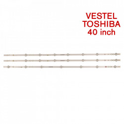 Set barete led tv Vestel, Toshiba 40 inch 17DLB40VXR1-LB40017 V0 03 38 S A/B, 2 barete de 8 leduri + 1 bareta 7 leduri