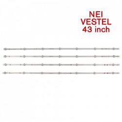 Set barete led NEI , Vestel 43 INCH 43NE5500 LB43007 V0/V1 04 38S 17DLB43VER1-A; 4 barete x 7 led