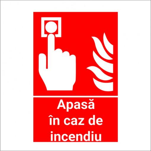 Sticker indicator Apasa in caz de incendiu