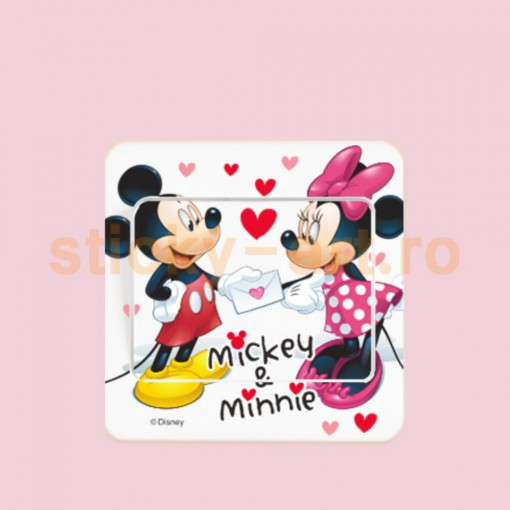 Sticker intrerupator Mickey si Minnie 9x9 cm