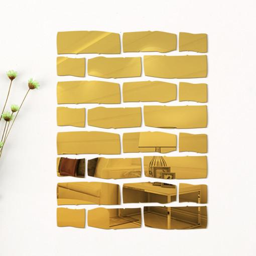 Sticker perete 3D Bricks Mirror Gold S