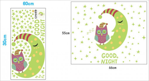 Sticker perete Glow in the Dark Owl On the Moon