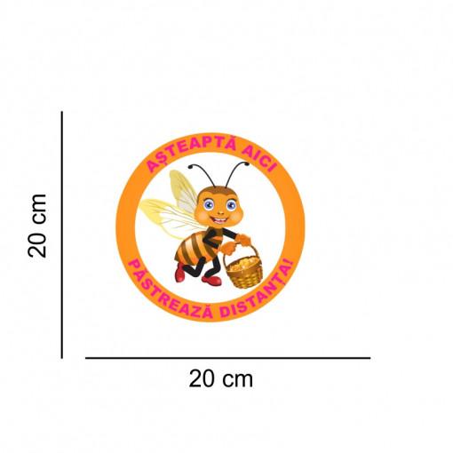 Sticker podea Asteapta Aici Albinuta