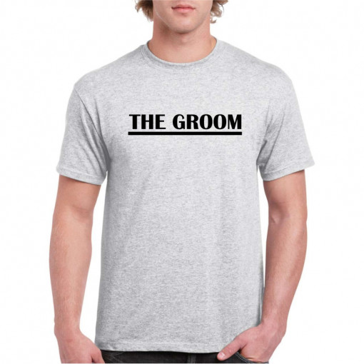 Tricou personalizat barbati gri The Groom 4 S