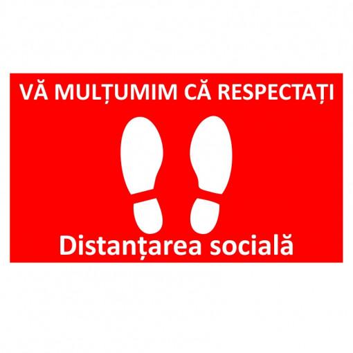 Sticker Indicator Respectati distantarea sociala