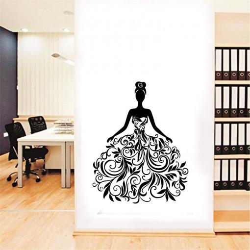 Sticker perete Black Flower Lady