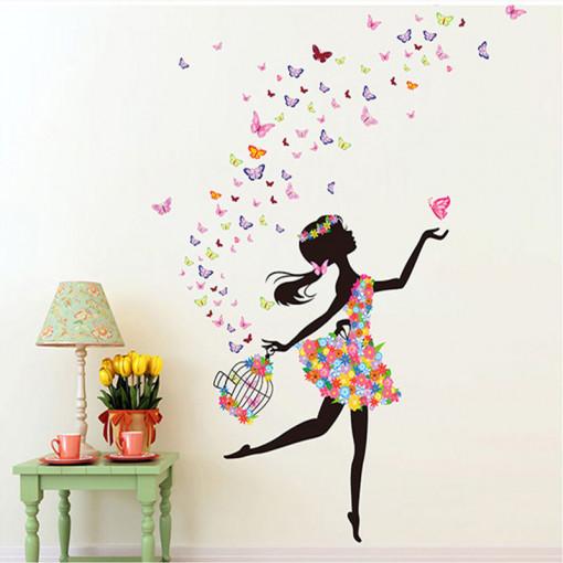 Sticker perete Fata cu Fluturi ce ies din colivie 1