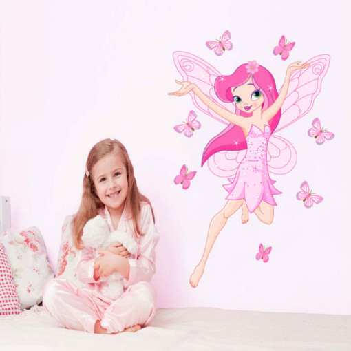 Sticker perete Zana Florilor roz 1