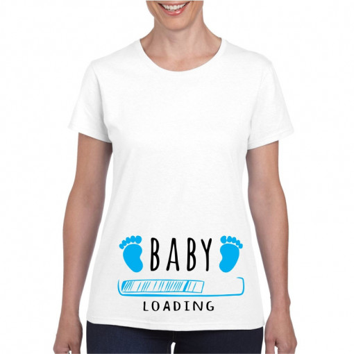 Tricou personalizat dama alb Baby is Loading Blue S