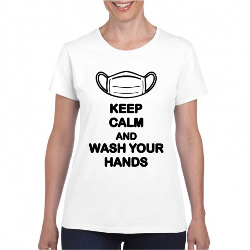 Tricou personalizat dama alb Keep Calm