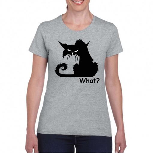 Tricou personalizat dama gri Black Cat What